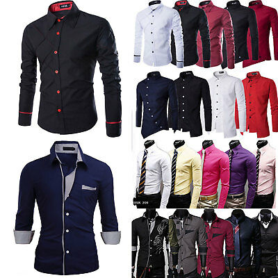 Mens Luxury Long Sleeve Shirts Casual Slim Fit Formal Dress Shirts Tops T-shirts