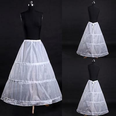 3-Hoop A-Line White Long Dress Wedding Gown Petticoat Underskirt Slips good
