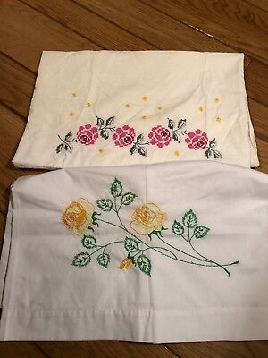 Lot of 2 Hand Embroidered Vintage Pillowcases;  Pink & Yellow Floral