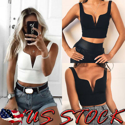 US Summer Women's Sexy Off-shoulder Tube Crop Tops Strapless Bra Tank Yoga Vests