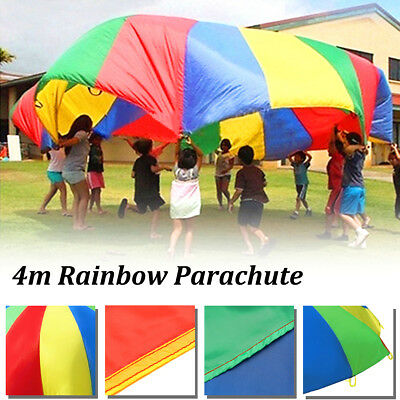 Rainbow Parachute Outdoor Game Exercise Sports Toy 14ft Handle Kids Child Play