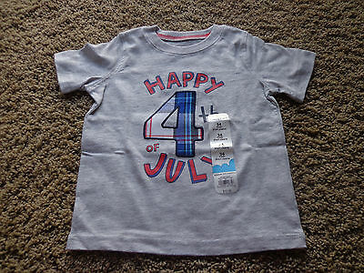 JUMPING BEANS boy's NWT sz 24 Months gray patriotic Happy 4th of July cotton tee
