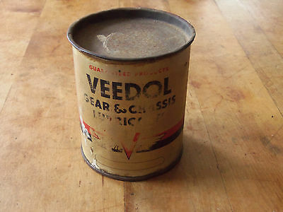 Vintage Veedol Gear Chassis Lube Can Tidewater Oil Co. Gas & Oil Advertising