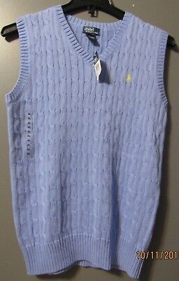Polo Ralph Lauren Boys V Neck Sweater Vest Blue Xl 18/20 Nwt