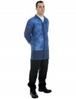 10 off  Blue Disposable Visitor Coat Non Woven Popper Fastening Supertouch 17114