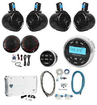 """Rockville Marine Bluetooth Receiver+(4) 8"""" Wakeboards+(2) LED Speakers+6-Ch Amp"""