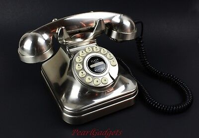 Vintage Old-Fashioned Rotary Dial Style Corded Home Telephone | Aluminum Casing