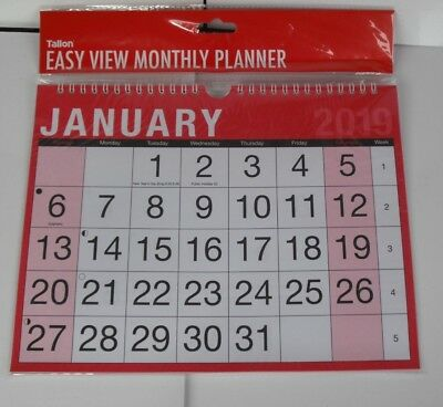 2019 Easy View Wall Planner Calendar A4 Commercial Office Month View Engagements