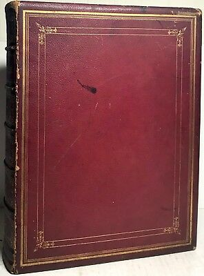 1870 Catholic Holy Bible Douay Rheims Challoner Illustrated Red Leather Ephemera