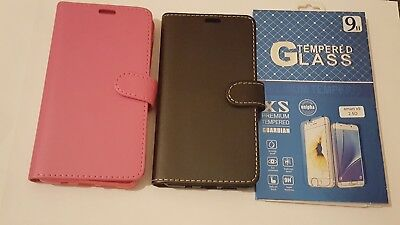 For Vodafone Smart X9 Flip PU Leather Book Wallet Case Cover + Tempered Glass