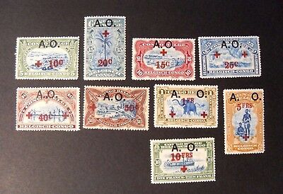 """BELGIAN CONGO GERMAN EAST AFRICA OCCUPATION """"RED CROSS A.O.OVP"""" 9V. Cpl set MH*"""