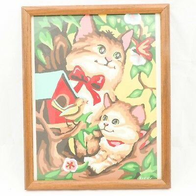 Cat Paint By Number Complete Painting Framed Kitty Bird House Tree Nature Kitten