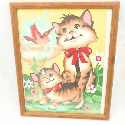 Cat Paint By Number Complete Painting Framed Kitty Bird Bath Flowers Kitten