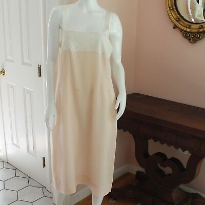 Vintage 1920s Light Peach Silk Lace Bust Slip or Nightgown