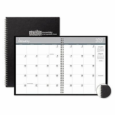 Two-Year Monthly Hard Cover Planner, 8 1/2 x 11, Black, 2019-2020 262092  - 1