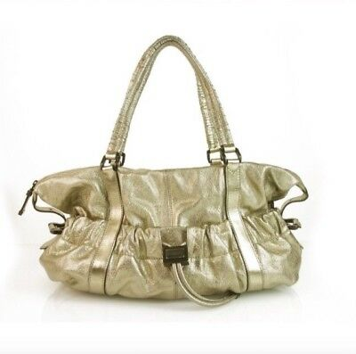 4077e4332cde Burberry Farrar Metallic Gold Leather Drawstring Satchel Handbag Shoulder  Bag