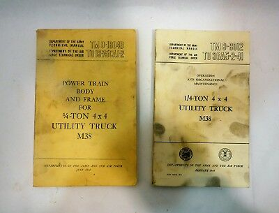 Two Vintage 1952 1956 US Army Air Force Manuals 1/4 Ton 4x4 Utility Truck M38
