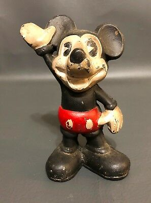 Vintage Mickey Mouse Cast Iron Coin Bank 5.25'' Tall