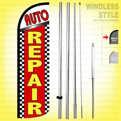 AUTO ALIGNMENT Windless PREMIUM WIDE Full Curve Advertising Banner Feather Swoop