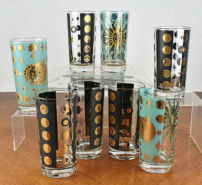 Eight VTG Fred Press MCM Tumblers Bar Glasses Atomic Sun Moon Black Gold Teal