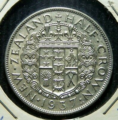 New Zealand - 1937 - Silver Half (1/2) Crown - Great Coin!