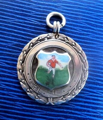 Vintage Stg. Silver & Enamel Football Fob Medal h/m 1934 Chester not engraved