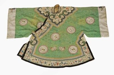Embroidered Green Silk Robe with Medaillions - Very Ornate - China 19th Century