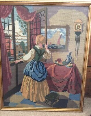 """Beautiful Vintage Tapestry Crinoline Lady Colourful Framed VGC 23"""" X 19"""""""