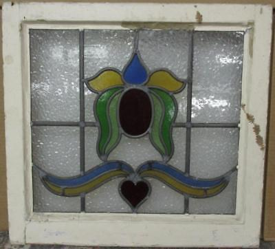 """OLD ENGLISH LEADED STAINED GLASS WINDOW Colorful Abstract & Heart 21.75"""" x 20.5"""""""