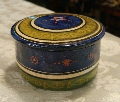 Safi Round Trinket Box w/ Lid Made In Morocco Handmade Morrocan Pottery