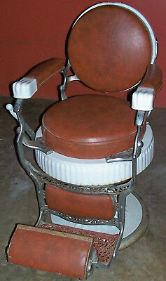 Koken Antique Round Seat Barber Chair Presidential Old Victorian Porcelain 1900s