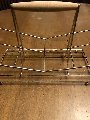 Vintage Wire Caddy Drinking Glass Carrier Mid Barware Holder Wood Handle
