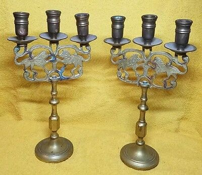 Antique pair ny Brass Candelabra 3 Candle Holders Judaic Lions of Judea