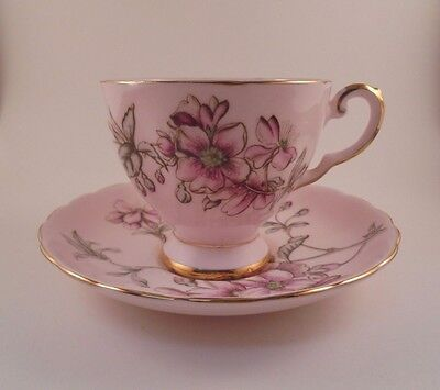 Tuscan Footed Cup & Saucer Pink W/Pink Flowers Bone China