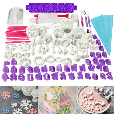 97 Pcs Fondant Cake Decorating Pastry Plunger Cutter Tools Flower Mold Mould Set