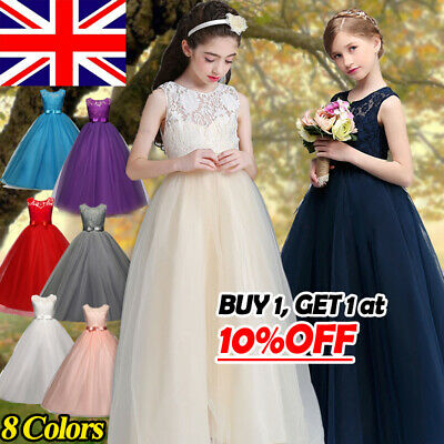 fceb7905c537e Lace Flower Kid Girls Party Prom Wedding Princess Dress Formal Maxi Full  Dresses