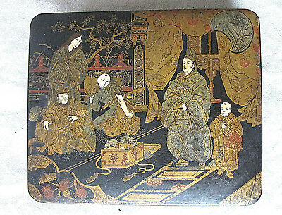 Japan Antique Japanese Gold and Red Lacquer Figurine Papier-mache Jewelry Box
