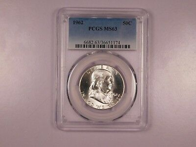1962 PCGS MS63 50C Franklin Half Dollar Uncirculated Certified Coin EC1165