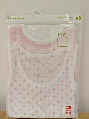 Uniqlo Baby cotton mesh singlet tank top 3 pack (brand new). White, pink and dot