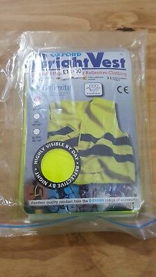 """Oxford Cyclist/Motorcyclist Reflective Bright Vest xs/s 35""""-40"""" FREE POSTAGE"""