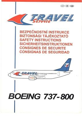 Czech Republic Travel Service Charter Airlines Safety Card Boeing 737-800 (1)