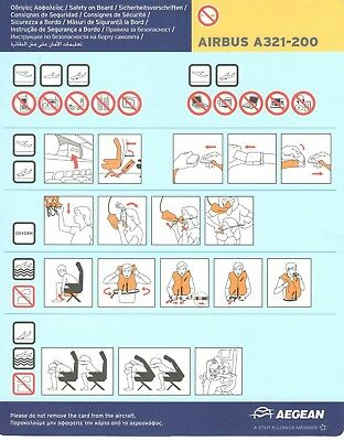 Greece Aegean Airlines Safety Card Airbus A321-200