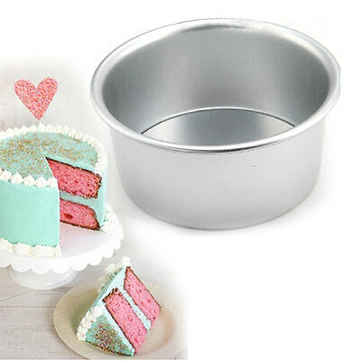 2/4/6/8'' Aluminum Alloy Round Cake Pan Tins Baking Mould Bakeware Tray CL