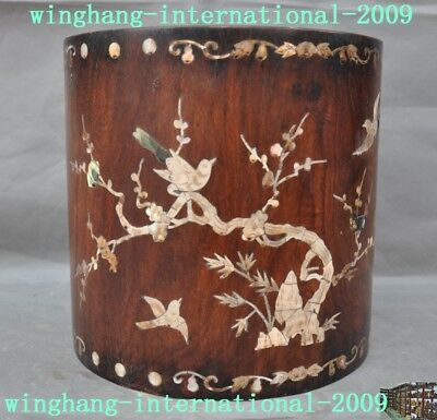 old Chinese huanghuali wood inlay shell Magpie Plum flower brush pot pencil vase