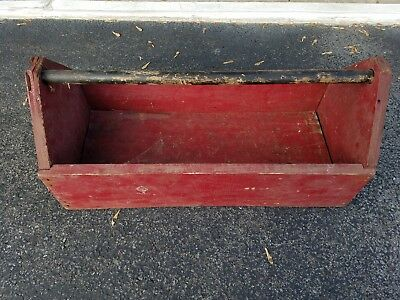 Vintage Hand Made Carpenter S Wood Tool Box Tote Carrier Planter