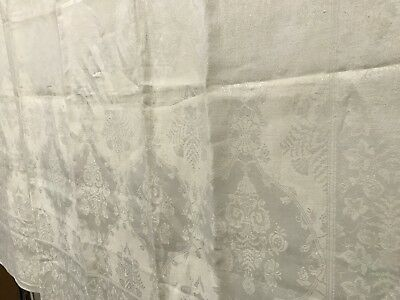Linen Antique Ivory Jacquard Floral Damask Tablecloth w/ 6 Napkins ~ L Monogram