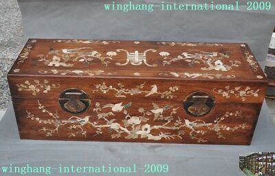 antique Chinese huanghuali wood inlay shell Magpie Plum flower storage box boxes