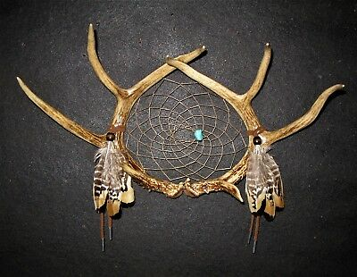REAL ANTLER DREAM CATCHER Native American Style Southwestern Art Cowboy Decor