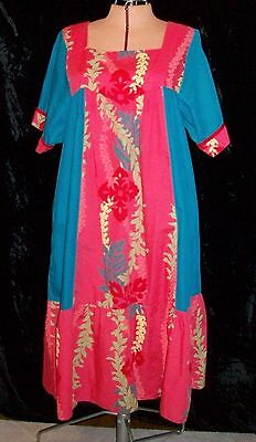Vintage RM Cotton Polyester Hawaiian Floral Muu Muu Large Made in Hawaii