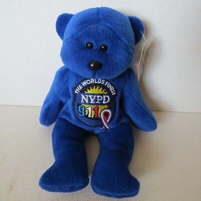 New York Police Department  plush Beanie Bear reads worlds FINEST NYPD 911~BLUE
